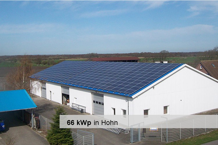 Referenz: Gewerbe-Solaranlage in Hohn mit einer Leistung von 66 kWp